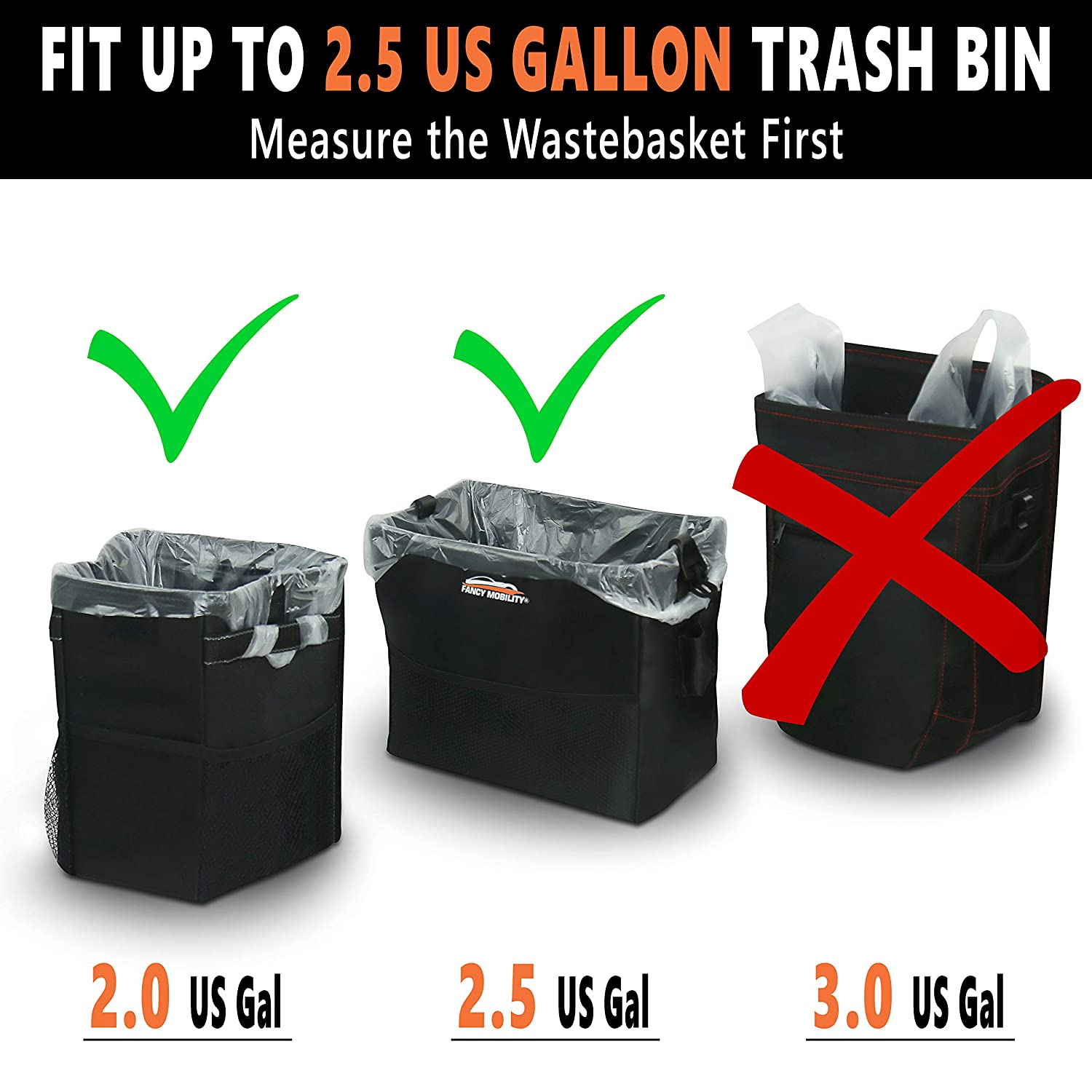 1 Pack Great for Office Fancy Mobility 2.5 Gallon Small Car Trash Can Liners Bathroom Car Accessories Small Waste Basket Trash Bin Liners 25 Strong Plastic Bags for Car Garbage Bedroom