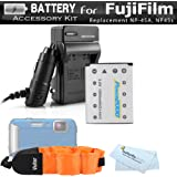 Battery And Charger Kit For Fujifilm FinePix XP70, XP80, XP90, XP120 Waterproof Digital Camera Includes Replacement (1000Mah) For Fuji NP-45A, NP-45s Battery + Ac/Dc Charger + Float Strap + More