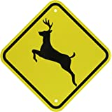 """SmartSign MUTCD # W11-3 3M Engineer Grade Reflective Sign, """"Deer Traffic"""" with Graphic, 12"""" square, Black on Yellow"""