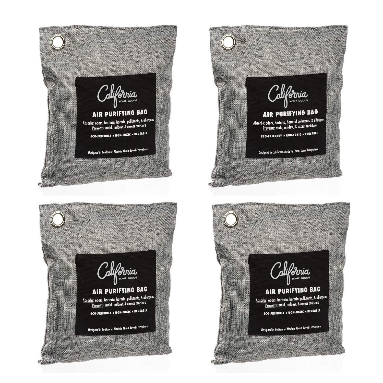 Bamboo Charcoal Air Purifying Bag (4 Pack), 200g Natural Air Freshener Bags, Activated Charcoal Odor Eliminators, Car Air Purifier, Closet Freshener, Home Air Freshener, Charcoal Bags in Grey Color