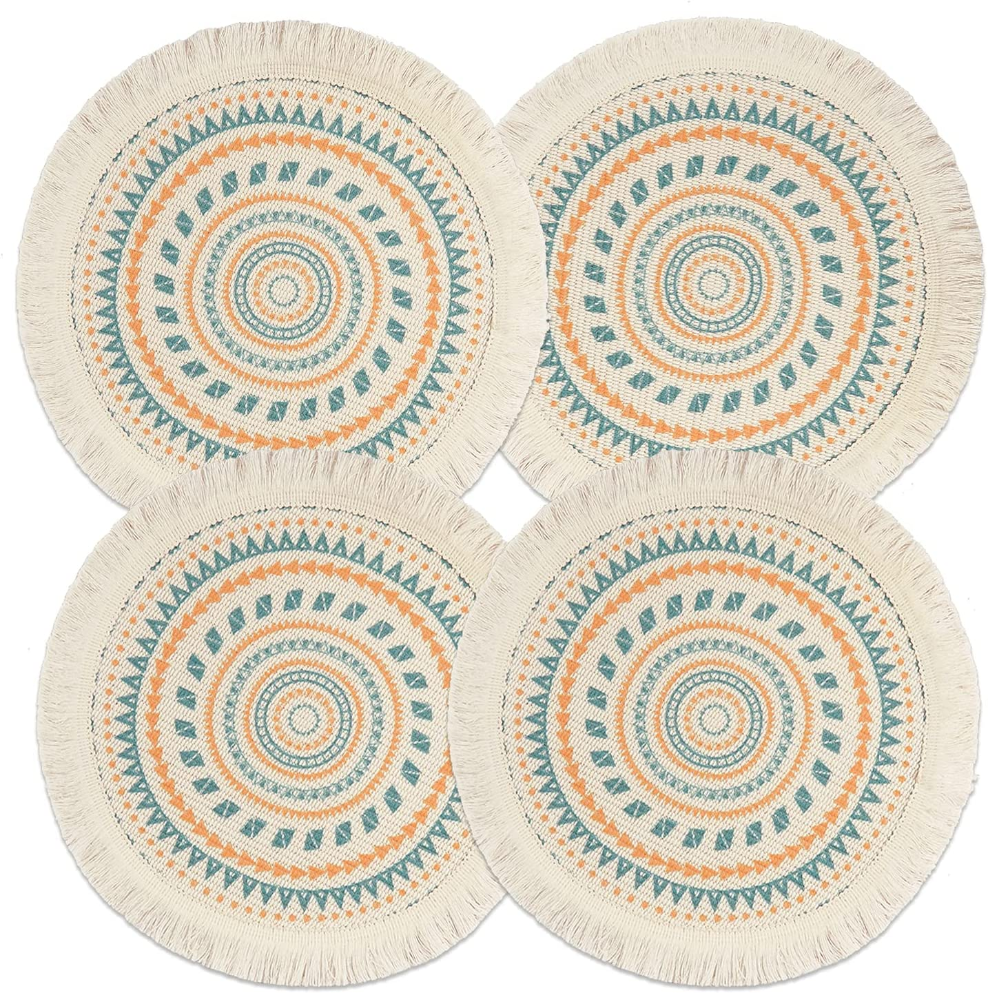 Sungea Mandala Round Placemats Set of 4, Boho Cotton Woven Macrame Tassels Table Mats Washable Heat Resistant Neutral Place Mat for Dining Room Kitchen Table Decor (13 Inches, Blue&Orange)