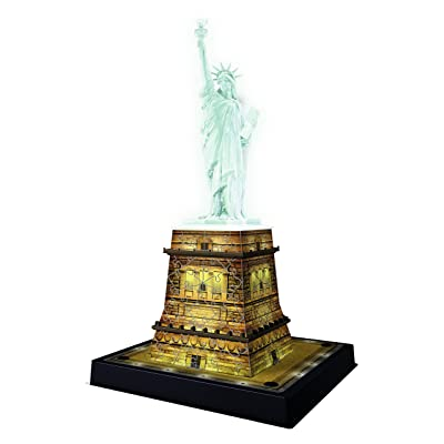 Ravensburger Statue of Liberty Night Edition 108 Piece 3D Jigsaw Puzzle for Kids and Adults - Easy Click Technology Means Pieces Fit Together Perfectly: Toys & Games