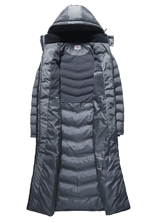 ELORA Maxi Women/'s Puffer Full Length Coat with Fur Trim Removable Hood