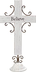 "Precious Moments Believe Rustic Farmhouse Distressed Wood & Metal 12"" Tabletop Home Décor Cross 173423,Multicolor"