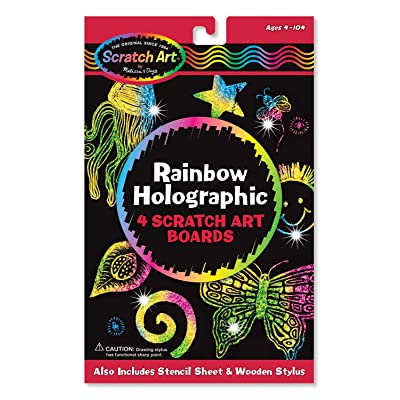 Melissa & Doug Rainbow Holographic Scratch Art Boards: Melissa & Doug: Toys & Games