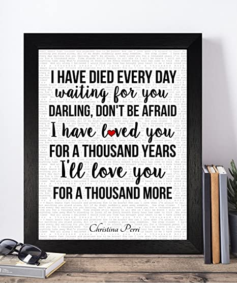 Christina Perri Valentines Day Wedding Anniversary Birthday Romantic Presents Gifts Ideas For Her Him Wife Husband Boyfriend Girlfriend Unframed