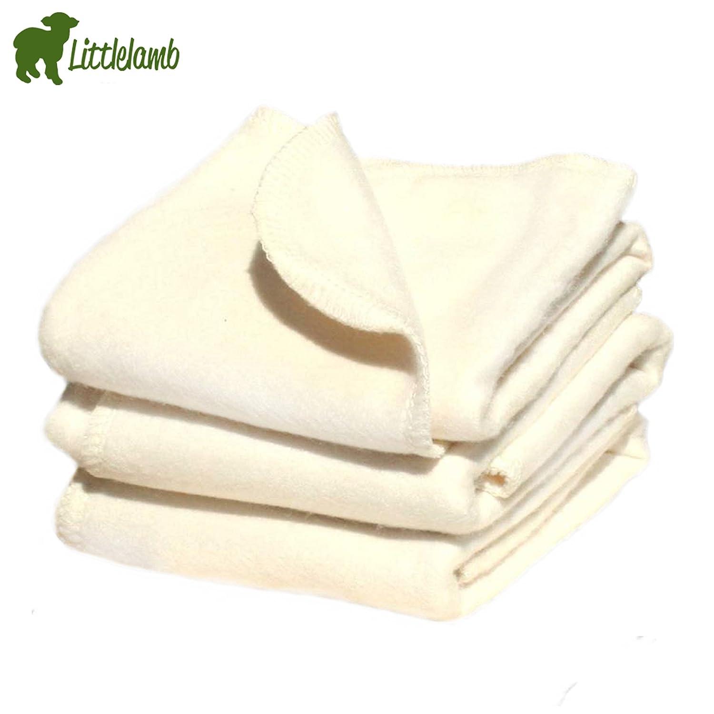 Little Lamb bambú plegable para pañales/prefold (5unidades)–Tamaño 1(Small 31x 35cm (4–9kg)) plegable compresas para montar con plástico pañales Bamboo–5Unidades)