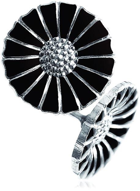 db68771ed Georg Jensen Sterling Silver Black Enamel Daisy Stud Earrings:  Amazon.co.uk: Jewellery