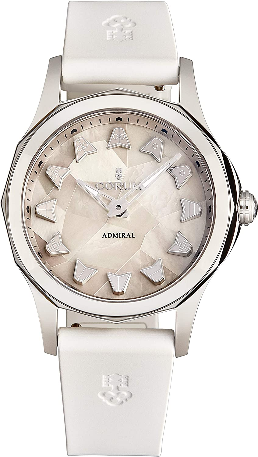 Corum Women's 'Admiral Cup' Automatic Watch - Mother of Pearl Marquetry Dial with Silver Luminous Hands - Sapphire Crystal and White Rubber Strap Swiss Watch for Women A400/03589