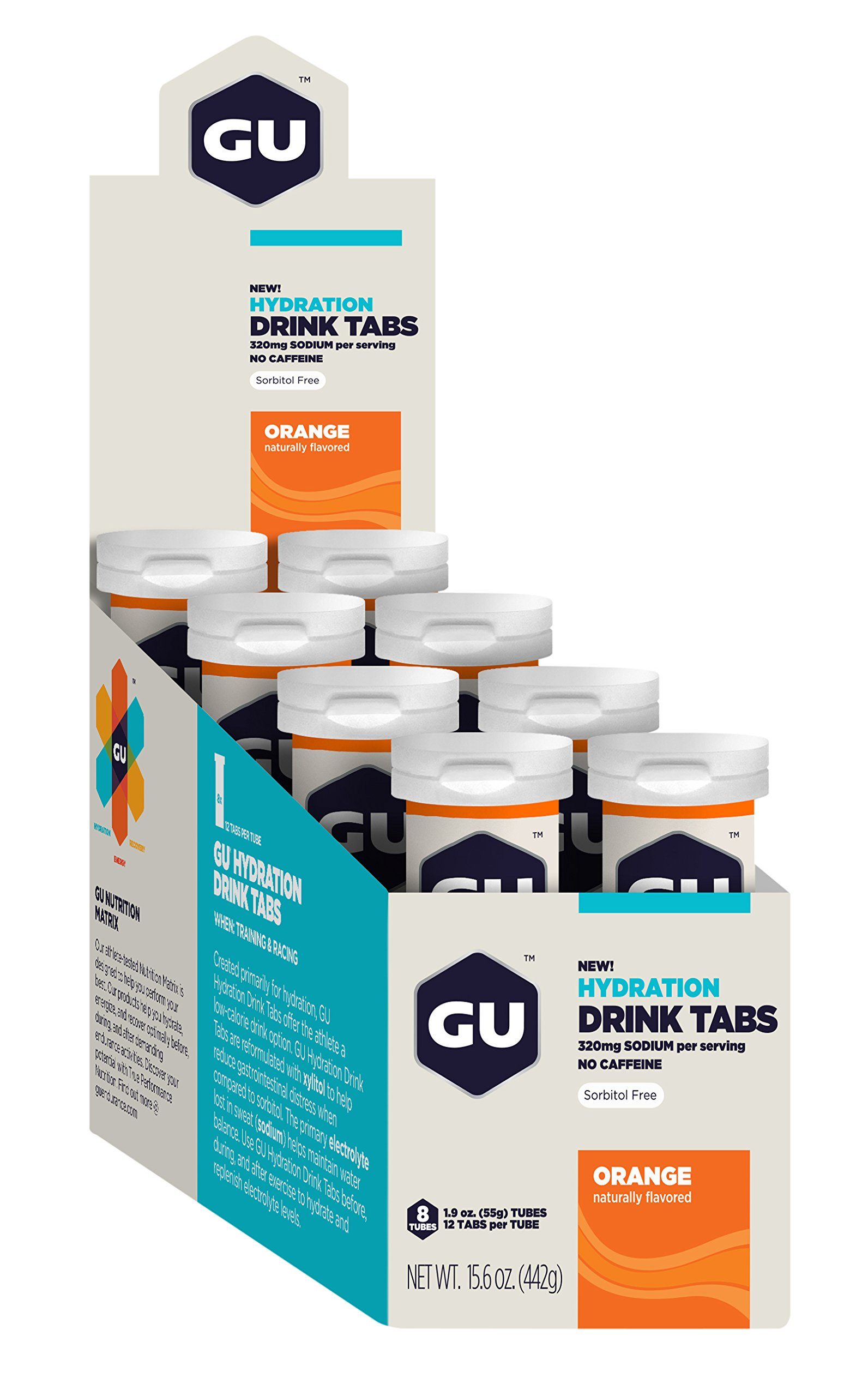 GU Energy Labs Hydration Drink Tablets Bulk Pack, Orange, 8 Count (Pack of 8)