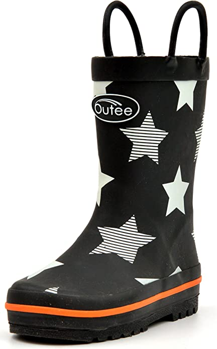 Outee Toddler Rain Boots Boys Kids Rubber Waterproof Shoes Printed Black Stars Cute Print with Easy On Handles (Size 7,Black)