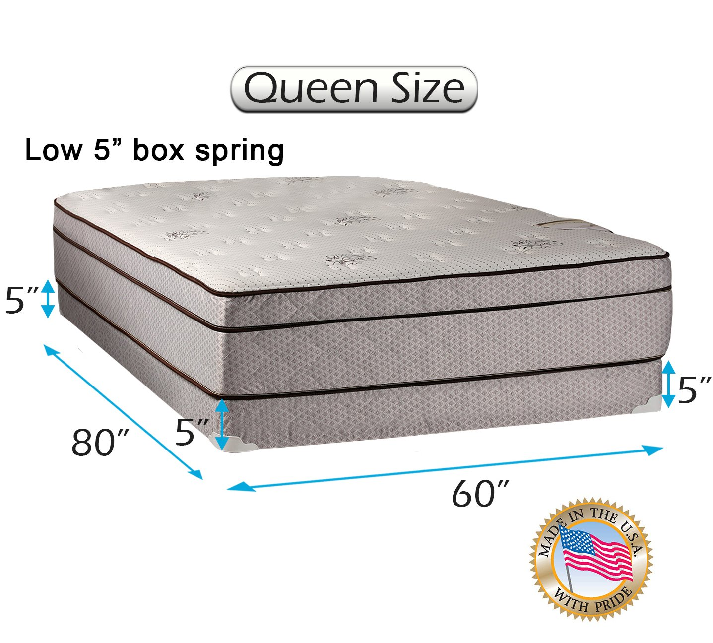Dream Solutions Fifth Ave Extra Soft Foam Eurotop (PillowTop) Queen Mattress & Low 5'' Height Box Spring Set with Mattress Cover Protector Included - Fully Assembled, Orthopedic, Quality Sleep System by Dream Solutions USA