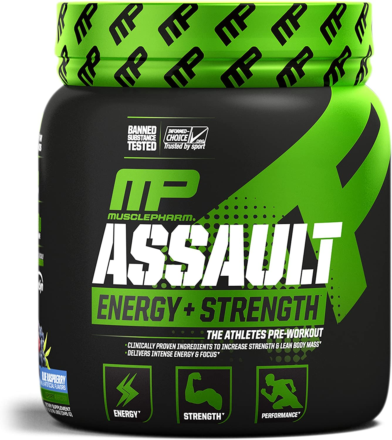 MusclePharm Assault Sport Pre-Workout Powder with High-Dose Energy, Focus, Strength, and Endurance, Blue Raspberry, 30 Servings: Health & Personal Care