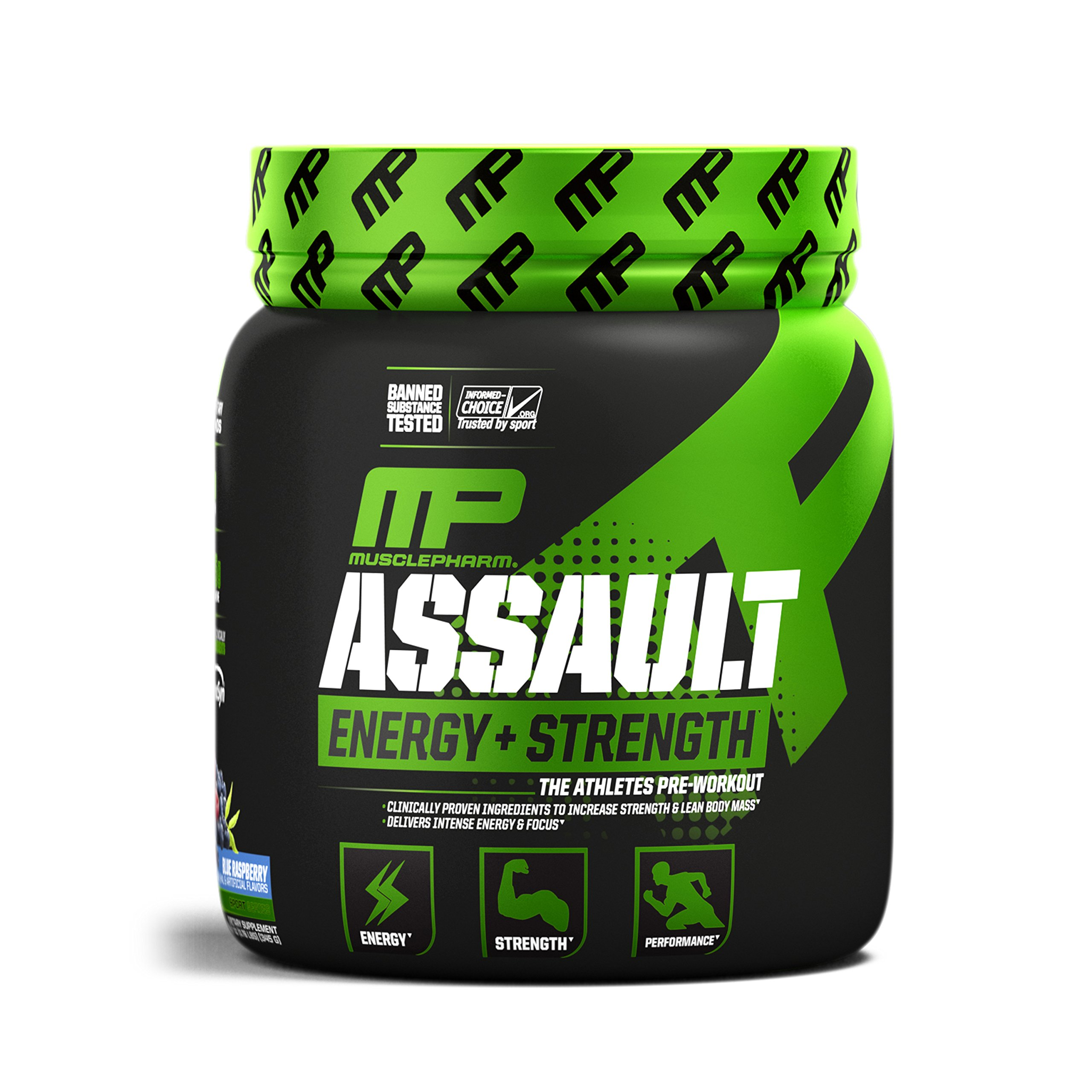 MusclePharm Assault Sport Pre-Workout Powder with High-Dose Energy, Focus, Strength, and Endurance with Creatine, Taurine, and Caffeine, Blue Raspberry, Energy Drink Powder, 30 Servings by Muscle Pharm