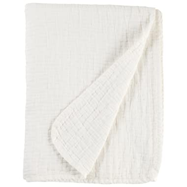 Stone & Beam Locklar Pick-Stiched Blanket, 80  x 60 , White