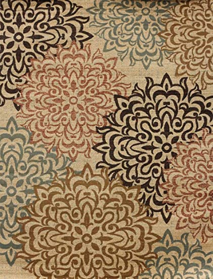 Amazoncom New City Contemporary Brown And Beige Modern Floral