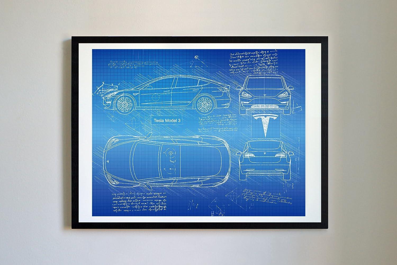 Tesla Model 3 Blueprint poster