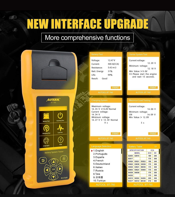 AUTOOL BT-760 Comprobadores de Sistema de bater/ía automotriz 6-32V Analizador de bater/ía de autom/óvil para veh/ículos Camiones de Servicio Pesado Motocicletas con Papel de Impresora