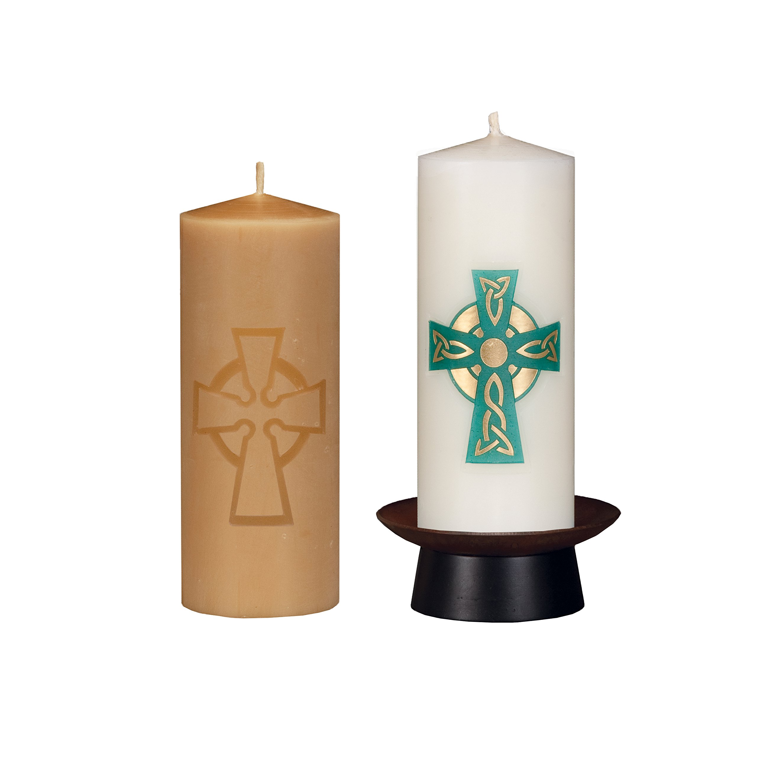 Beeswax Christos™ Candle Set; 2-1/2'' x 6'' candles with base; Armagh™ design in green and 22K gold. Handcrafted in New England. Made in America. by Marklin Candle