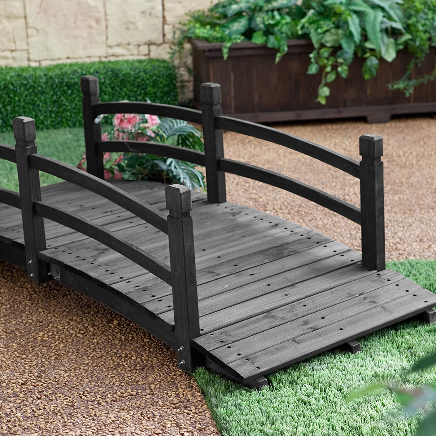 amazoncom coral coast harrison 6 ft wood garden bridge dark stain garden gates patio lawn garden