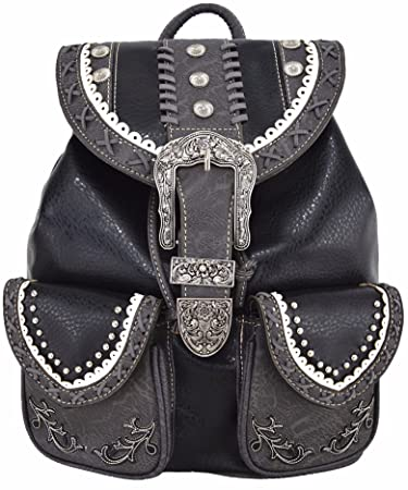 compare price attractive price top-rated discount Western Style Cowgirl Country Backpack Punk Buckle School Bag Travel Biker  Purse (Black)