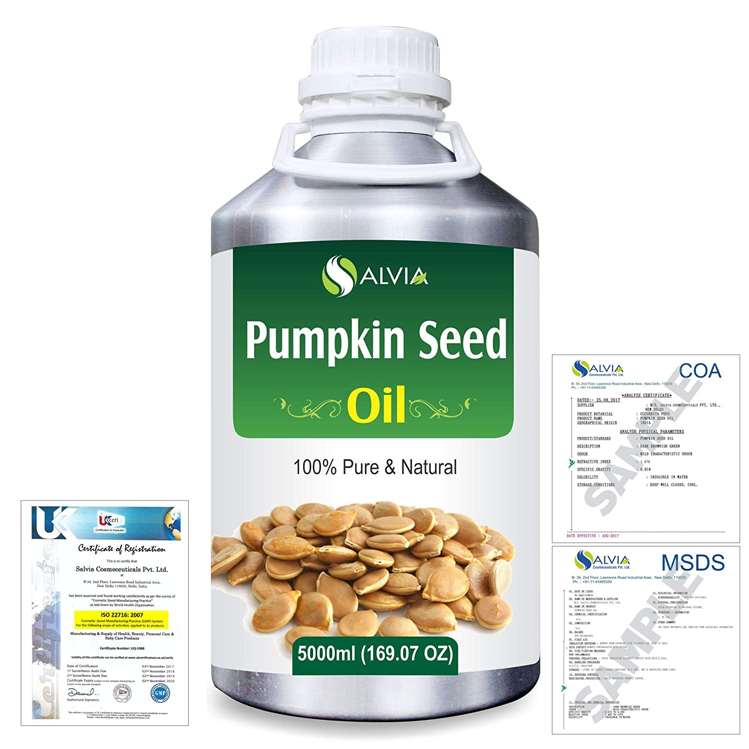 Pumpkin Seed Oil (Cucurbita Pepo) Natural Pure Undiluted Uncut Carrier Oil 5000ml/169 fl.oz. B07R4WMR1H