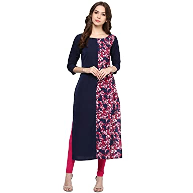 ZIYAA Women's Straight Crepe Kurta Kurtas at amazon