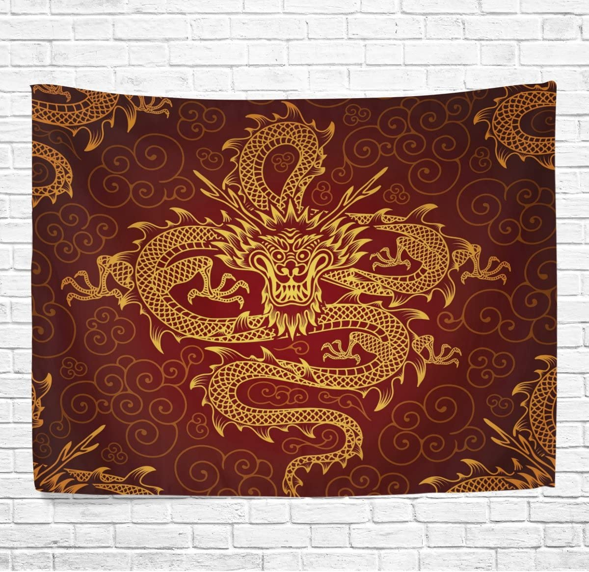 WOZO Chinese Dragon Home Decor Collection, Oriental Style Yellow Wall Art Polyester Tapestry Wall Hanging Art 90 X 60 Inches