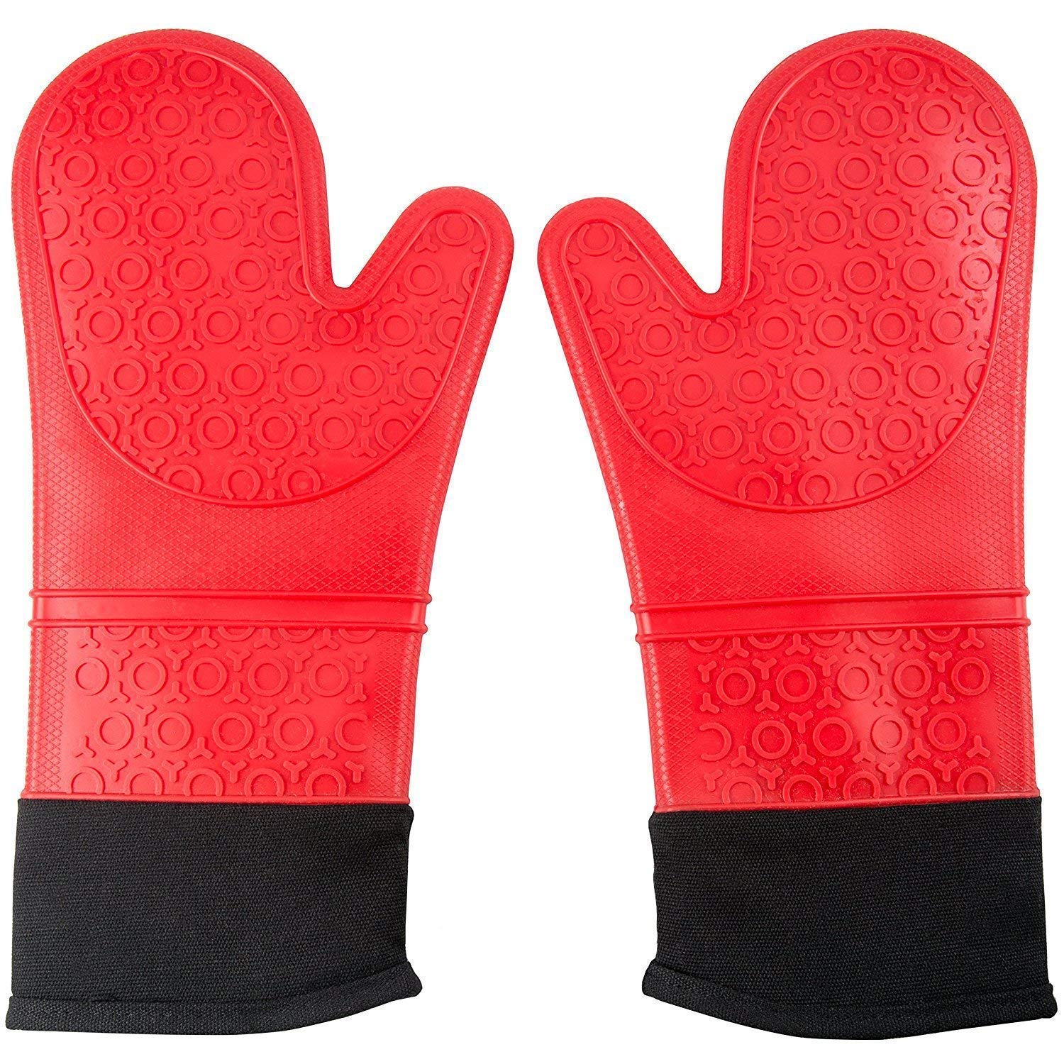 LOAZRE 20 Heat Resistant Silicone Oven Mitts for 500F with Waterproof, Professional Heat Resistant Potholder Kitchen Gloves -1 Pair (Red)