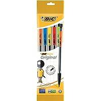 BIC Stiftpenna Matic, 0,7 mm, HB, diverse clips-färger, inklusive 3 påfyllningar, påsar med 5 stycken, svart