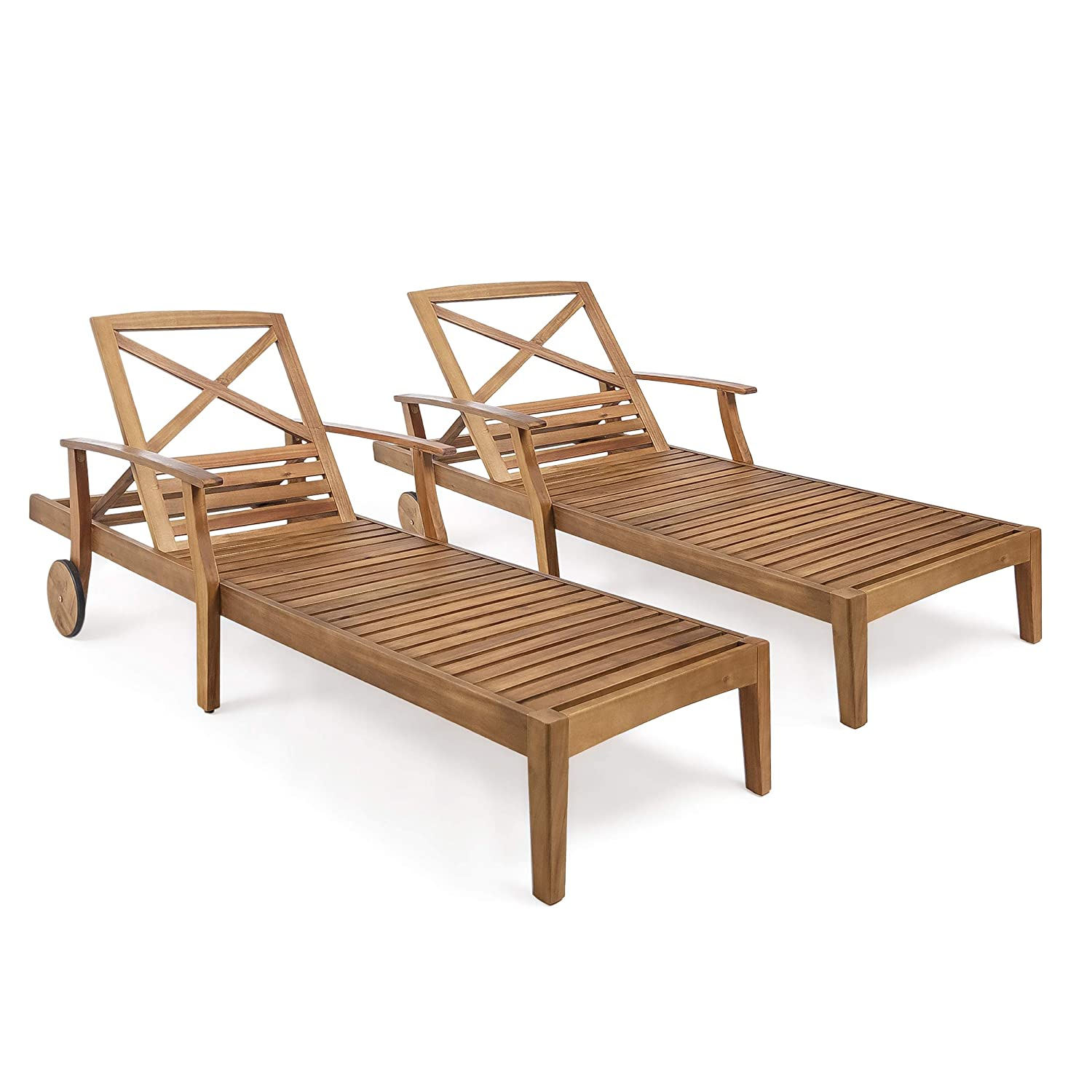Great Deal Furniture Thalia Outdoor Teak Finished Acacia Wood Chaise Lounge Set of 2