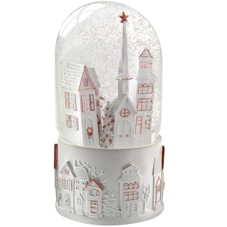 WeRChristmas, Palla di Vetro con Neve Carillon con Case e Chiesa, Decorazione Natalizia, 17 cm, Colore: Bianco WRC-7188