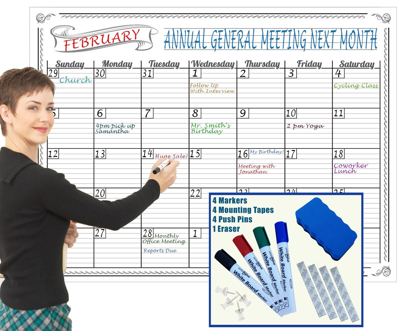 Large Dry Erase Calendar Wall Hanging Classroom Decorations 2018 2019 Teacher Supplies Fun Activity Tracker Kids Chore Chart Poster Organizer Weekly Planner Markers Eraser Office Organization 36x48 in
