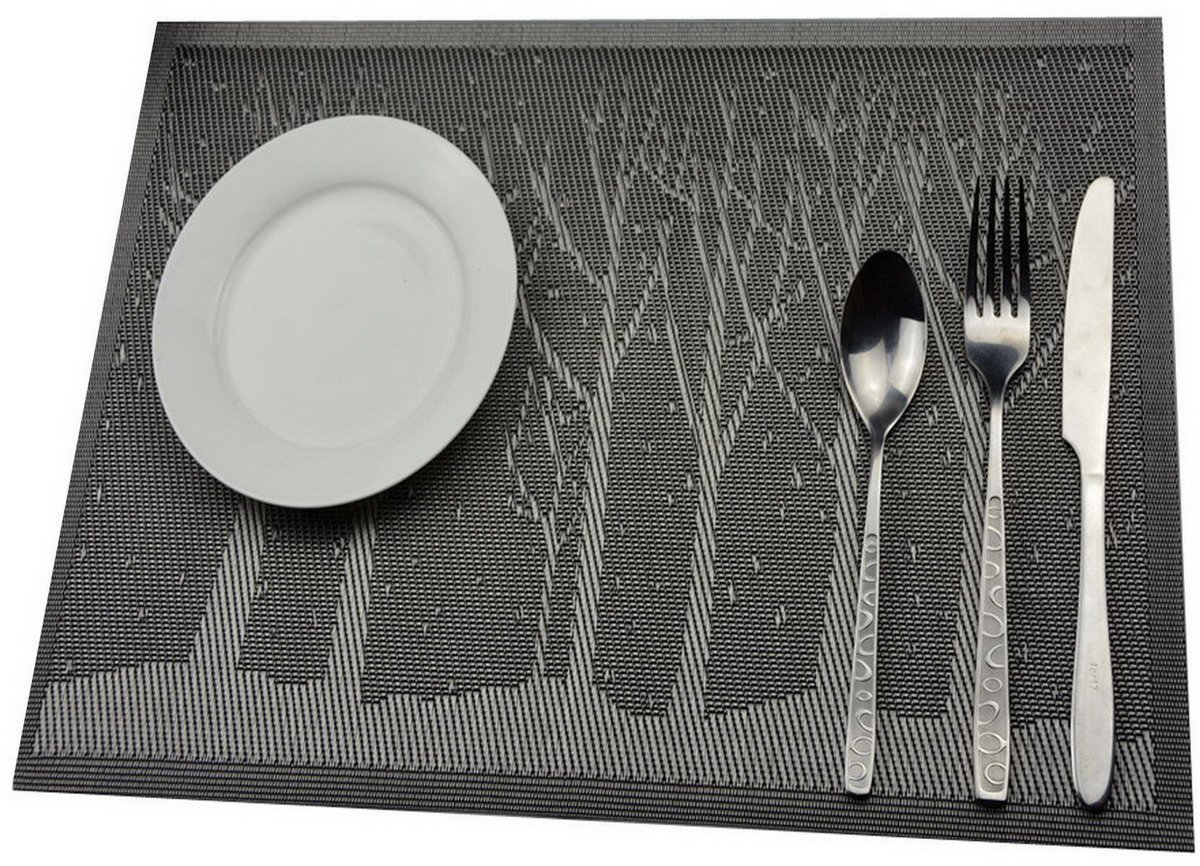 Niyatree Weaved Tree Table Mat Washable Kitchen Vinyl Placemat Heat Resistant Placemats,Set Of 4 - Silver
