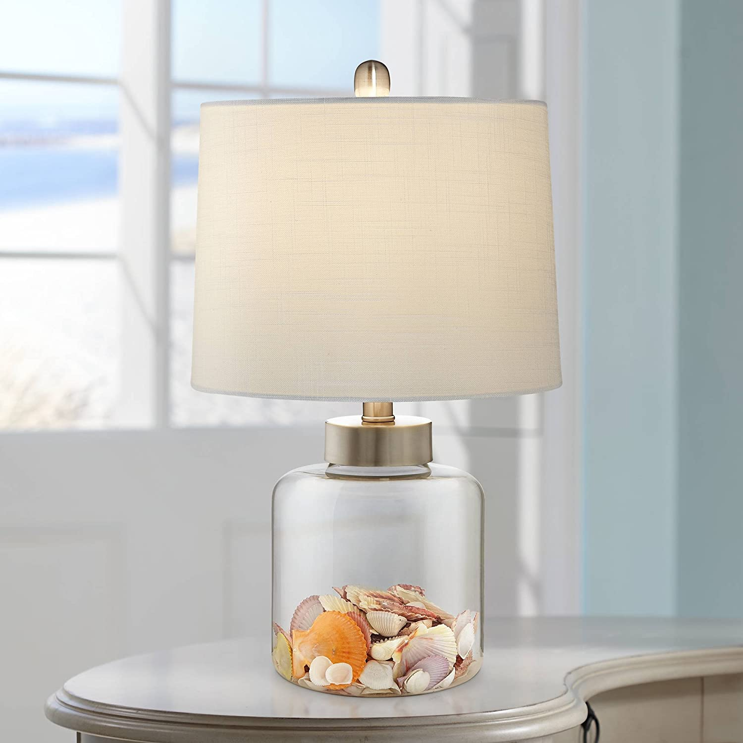 Nautical Accent Table Lamp Clear Glass Fillable Sea Shells Off White Linen Drum Shade for Living Room Bedroom Bedside - 360 Lighting