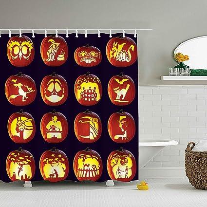 amazon com bathroom curtains carving pumpkin extra long shower rh amazon com