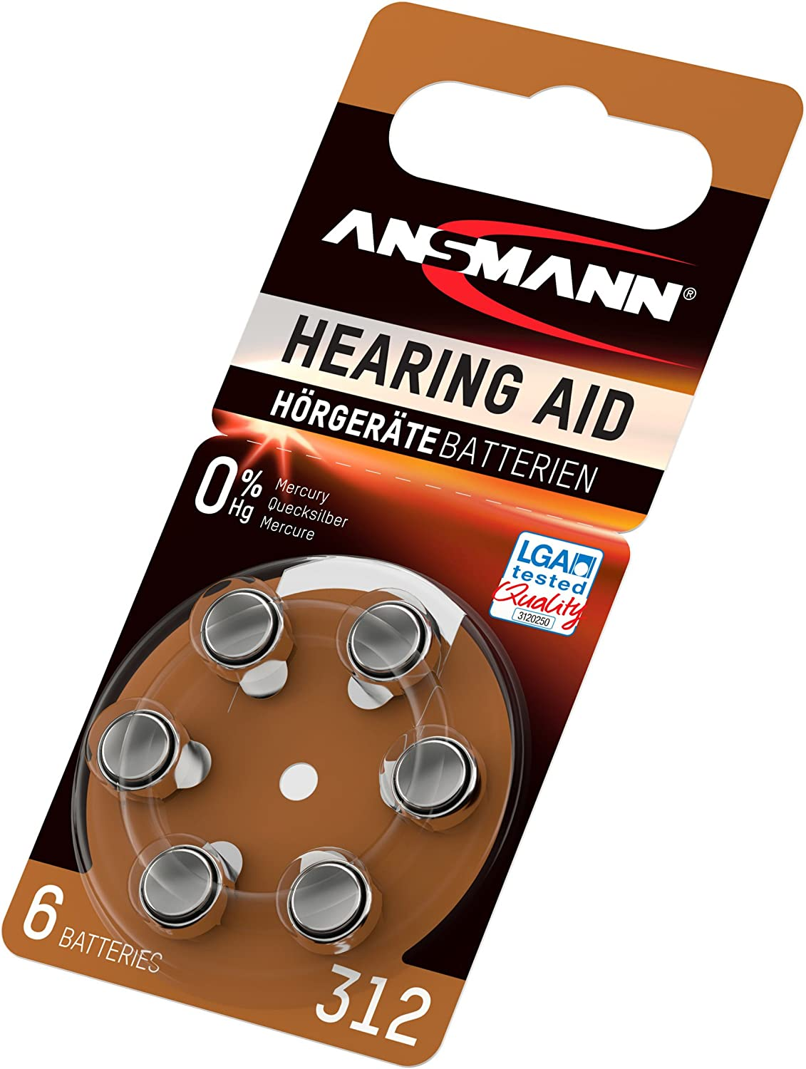 ANSMANN Hearing Aid Battery Size 13 1.4V Zinc-Air 6 Pack