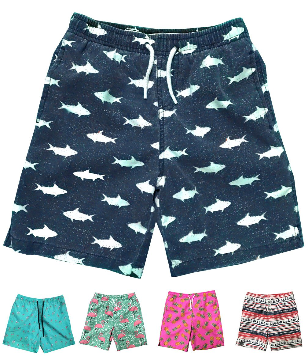 INGEAR Little Boys Quick Dry Beach Board Shorts Swim Trunk Swimsuit Beach Shorts with Mesh Lining (Navy Blue Fish, 4T)