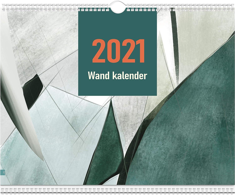Oterri Wandkalender 2021.Gro/ßer Familienplaner mit Monatsansicht 12-monatiger Kalender f/ür 2021 mit Tasche.Einfacher Stilhintergrund .Familienplaner 2021 mit praktische Monatstaben.