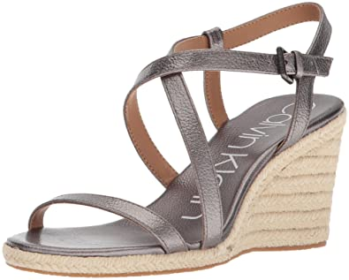 0793aeb272eb Calvin Klein Women s Bellemine Espadrille Wedge Sandal Anthracite 5 Medium  US