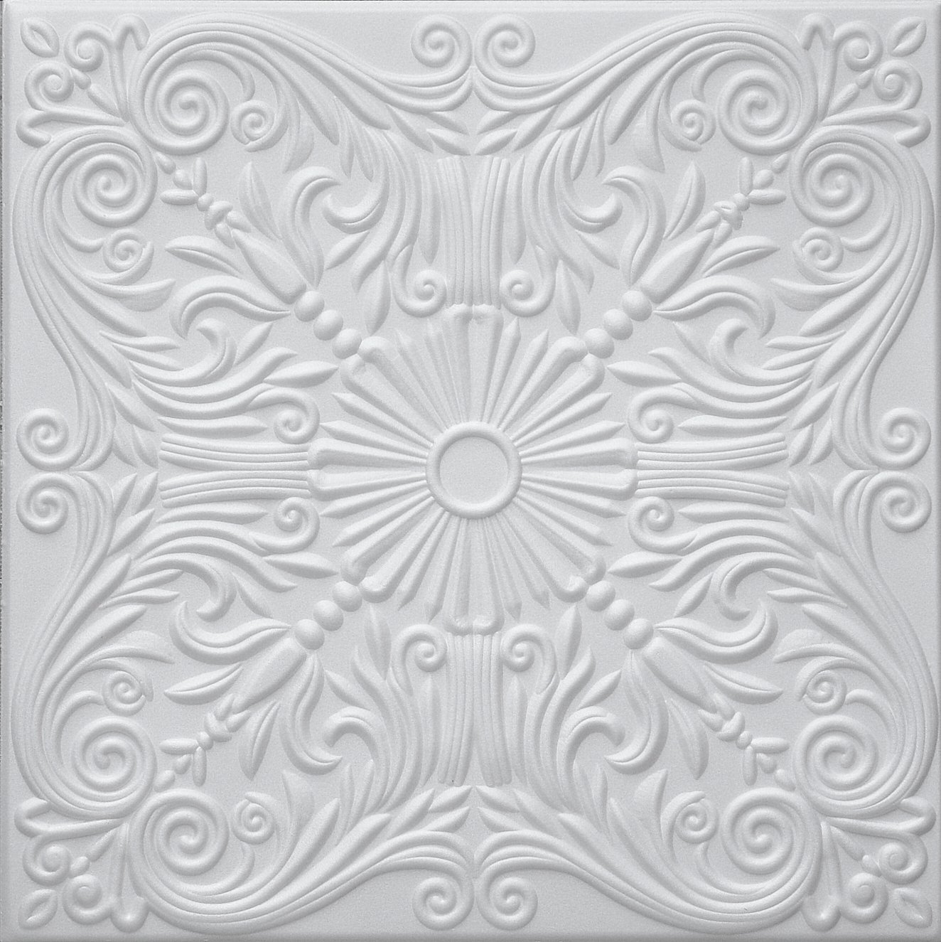 RM-39 Polystyrene (Styrofoam) Decorative Ceiling Tile to cover popcorn (Pack of 8 white tiles). Easy paintable. Easy DIY glue up application on most flat ceiling surfaces or over popcorn. Elegant Classic Design. TRM