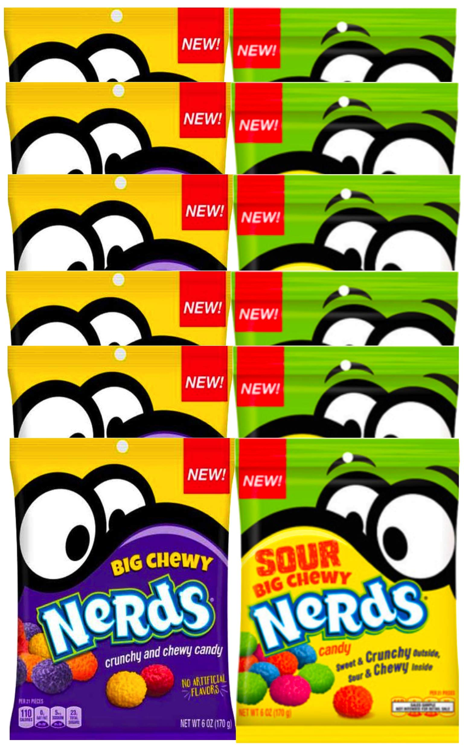 NEW Nerds Big Chewy Nerds Sour & Crunchy No Artificial Flavors Net WT 6oz (12)