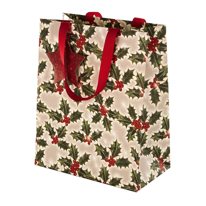 Set di sacchetti regalo natalizi tradizionali di Hallmark 2 sacchetti in 2 design coordinati con etichette abbinate.