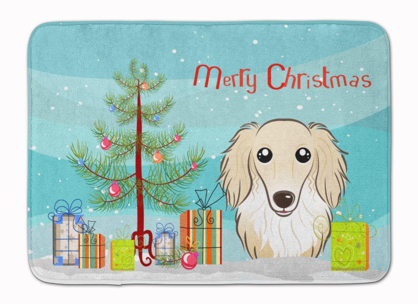 Carolines Treasures Christmas and Longhair Creme Dachshund Floor Mat 19 x 27 Multicolor