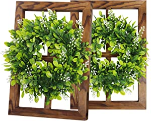 Window Frame with Boxwood Wreaths Wall Decor- Rustic Farmhouse Decoration 4 Pane Window Barnwood Frames for Home Living Room Kitchen (2 Pack, 15