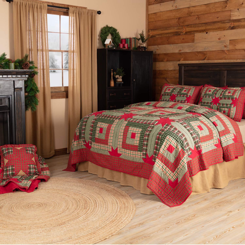 VHC Brands Forreston Cabin Queen 90x90 Quilt Red 49807