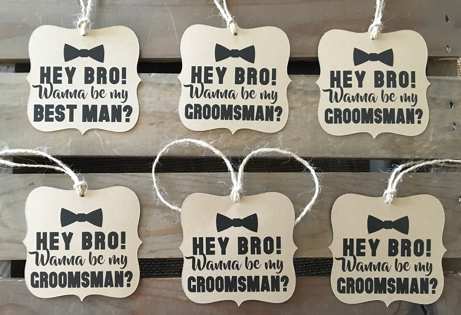 Will you be my Groomsman - Best Man - Set of 6 Square Bracket Shaped - Rustic Modern - WEDDING - Bow Tie - Personalize - Recycled - Eco Friendly