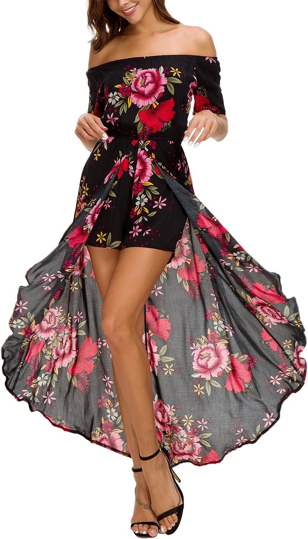Amazon.com: Kormei Womens Off Shoulder Short Sleeeve Floral Rayon