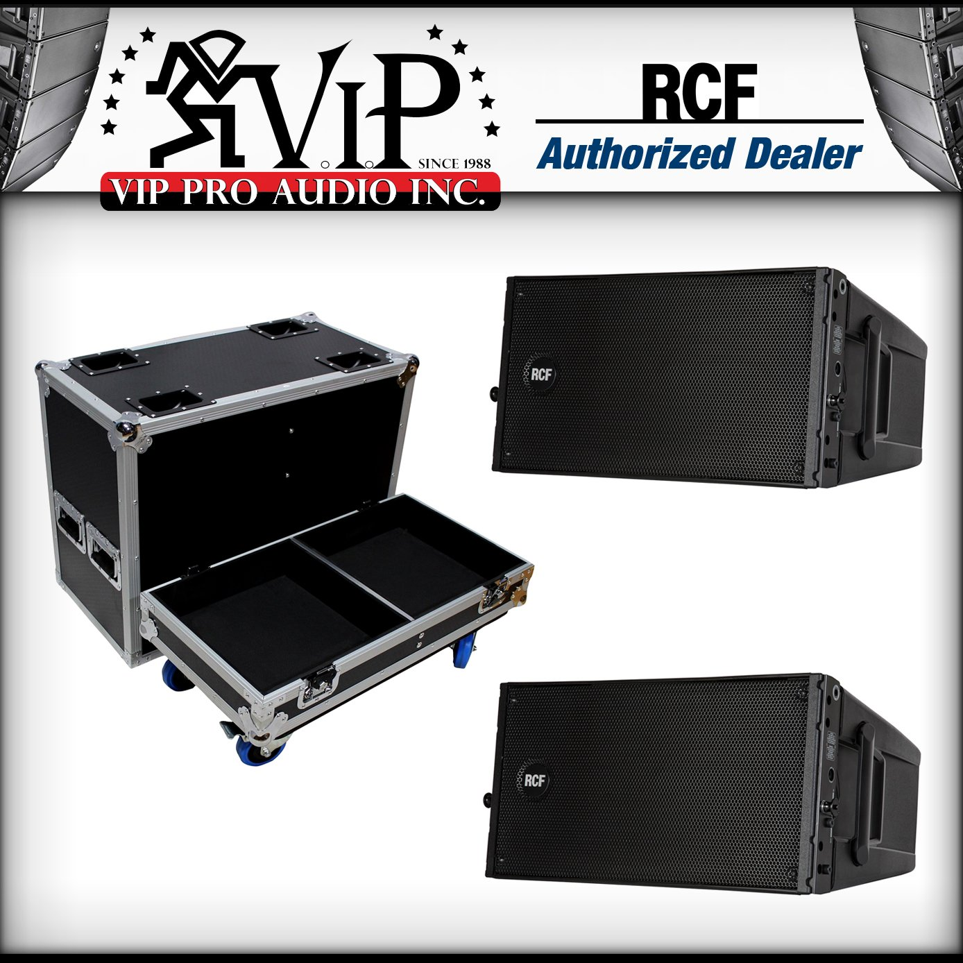 2x RCF-HDL 10-A Active Line Array Speaker Module + X-RCF-HDL10AX2W Flight  Case