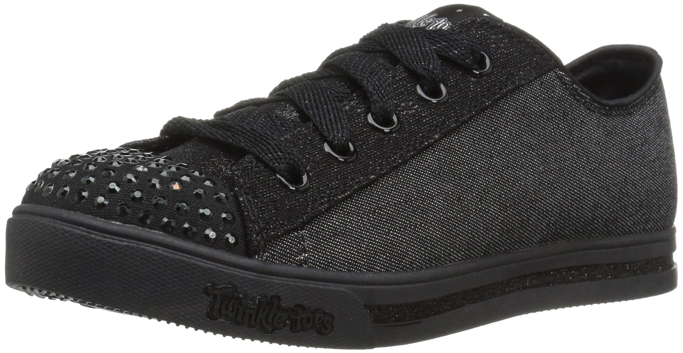 Skechers Kids Girls' Sparkle Glitz-Roll Call Sneaker,black,10.5 M US Little Kid